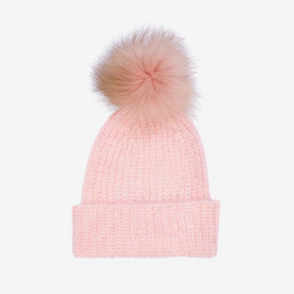Mushroom wool hat with fur bobble - Pink