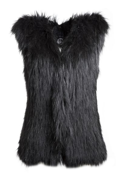 Tiera long fur vest - black