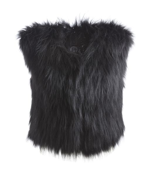 Tiera short fur vest - black